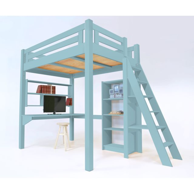 abc meubles lit mezzanine alpage bois chelle hauteur r glable bleu pastel 120cm x 200cm. Black Bedroom Furniture Sets. Home Design Ideas