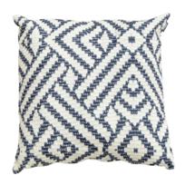 Hartman - Coussin de qualité pour l'extérieur, motif géométrique bleu sur fond blanc, déhoussable 50 x 50 cm x H 16 cm