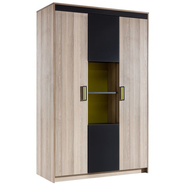 comforium armoire ado 4 porte coloris bois noyer et gris. Black Bedroom Furniture Sets. Home Design Ideas