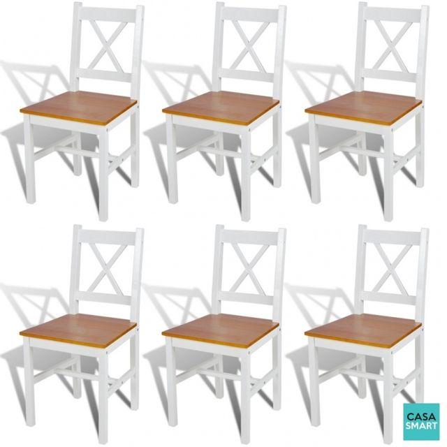 Casasmart Lot de chaises Clark en bois blanc et naturel