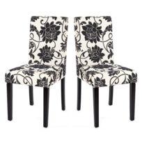 Decoshop26 Lot de 2 chaises de salle à manger en tissu