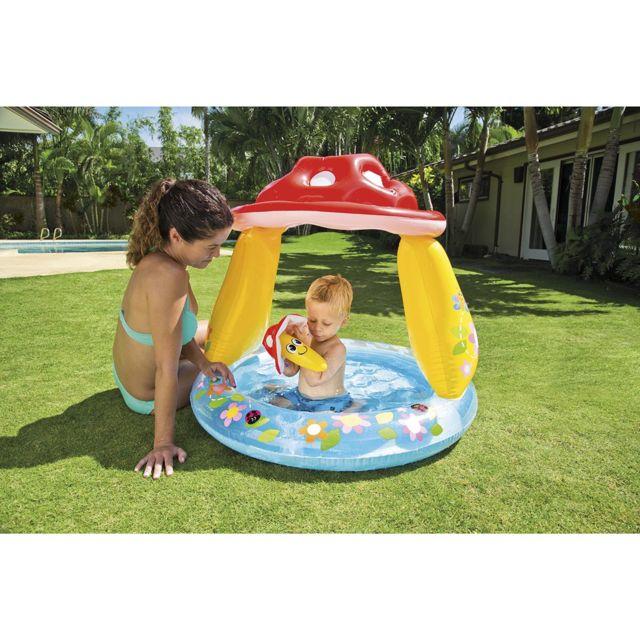 Intex piscine pour enfants champignon avec pare soleil for Piscine bebe champignon