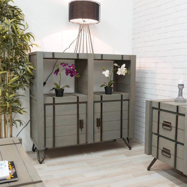 Wanda Collection Buffet de salon en mindi Loft gris 114 cm