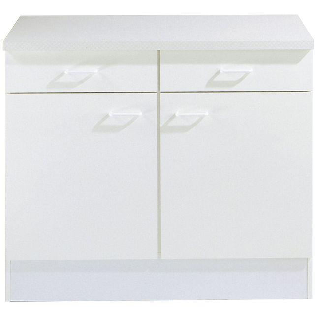 Comforium Meuble bas cuisine blanc à 2 portes et 2 tiroirs