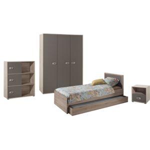 soldes comforium ensemble complet 5 pi ces pour chambre moderne avec lit 90x200 cm chevet. Black Bedroom Furniture Sets. Home Design Ideas