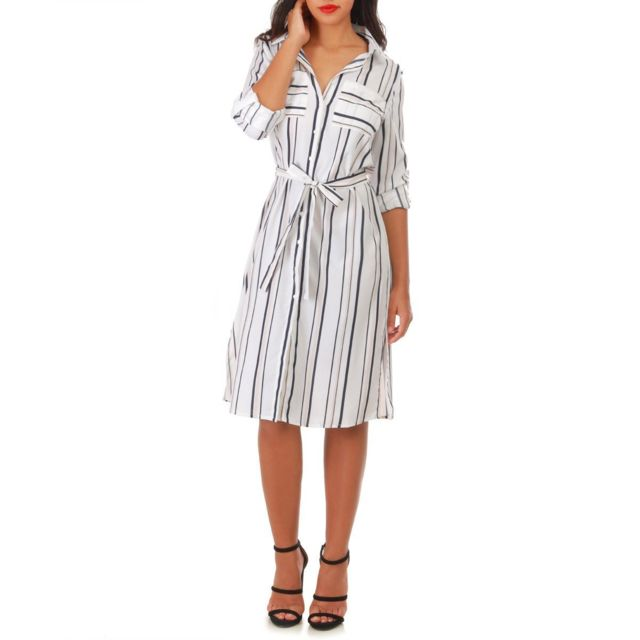 a2299320bfd Lamodeuse - Robe chemise blanche à rayures et manches longues - pas ...
