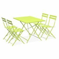 Salon de jardin bistrot pliable - Emilia rectangulaire vert anis - 110x70cm  avec quatre chaises pliantes, acier thermolaqué