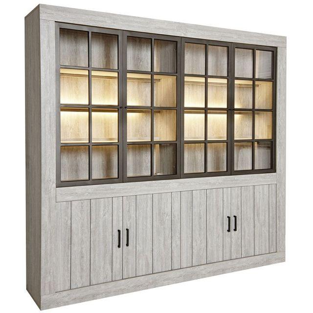 Bibliothèque contemporaine 245 cm à 4 portes vitrées coloris valonia avec  éclairage