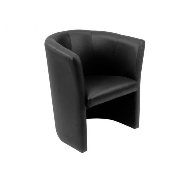 Meubletmoi Fauteuil Cabriolet noir en simili - Design contemporain - Cabri