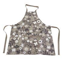 Ziczac - Tablier 100% coton motif floral 80x85cm Flowers - Taupe