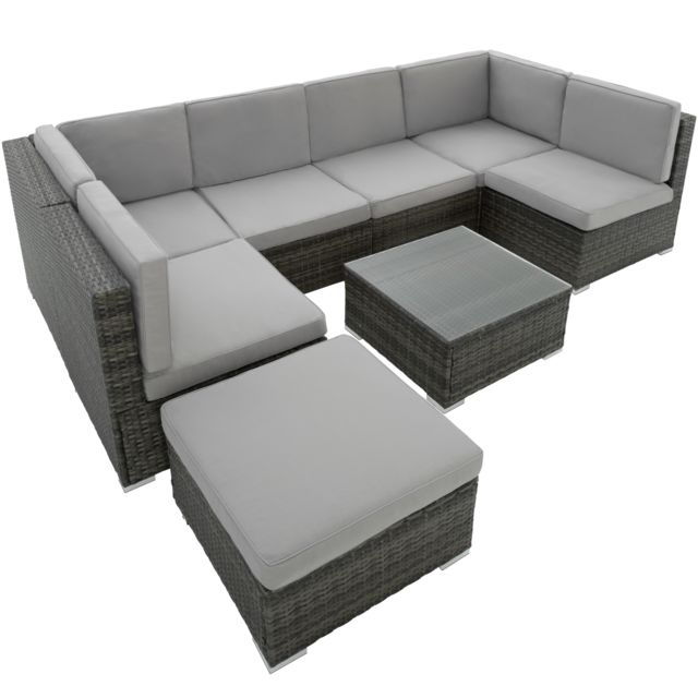 TECTAKE Canapé de Jardin VENISE 7 places - gris