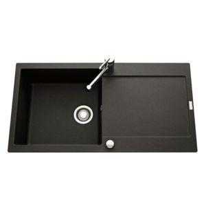 franke evier granit maris noir graphite 1 grand bac 1 gouttoir pas cher achat vente evier. Black Bedroom Furniture Sets. Home Design Ideas