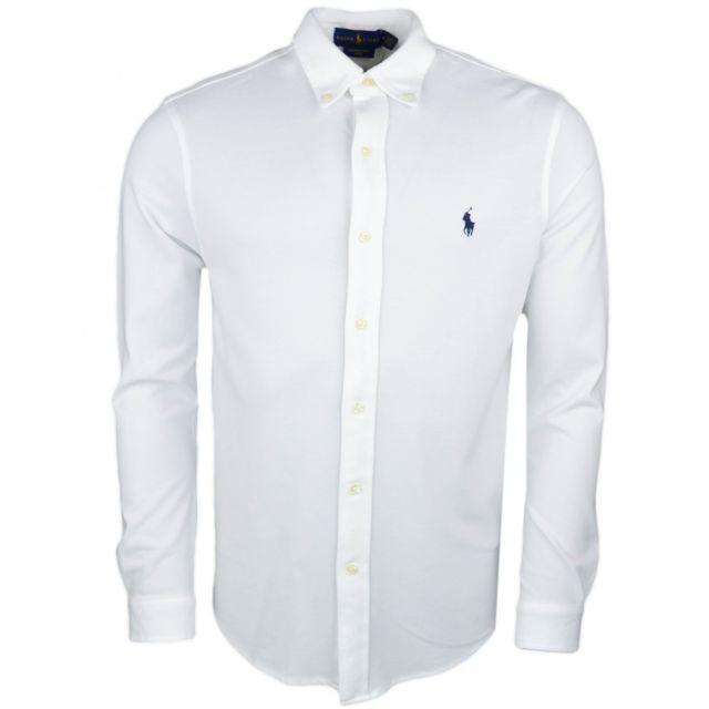 Ralph Lauren - Chemise piquée Ralph Lauren blanche logo marine pour homme 3be0c8219240