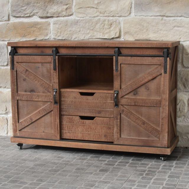 chemin de campagne meuble bahut t l tv industriel roulettes bois fer 120 cm pas cher. Black Bedroom Furniture Sets. Home Design Ideas