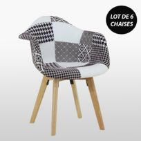Lot De 6 Chaises Scandinaves En Tissu Patchwork Avec Accoudoirs Noir Blanc