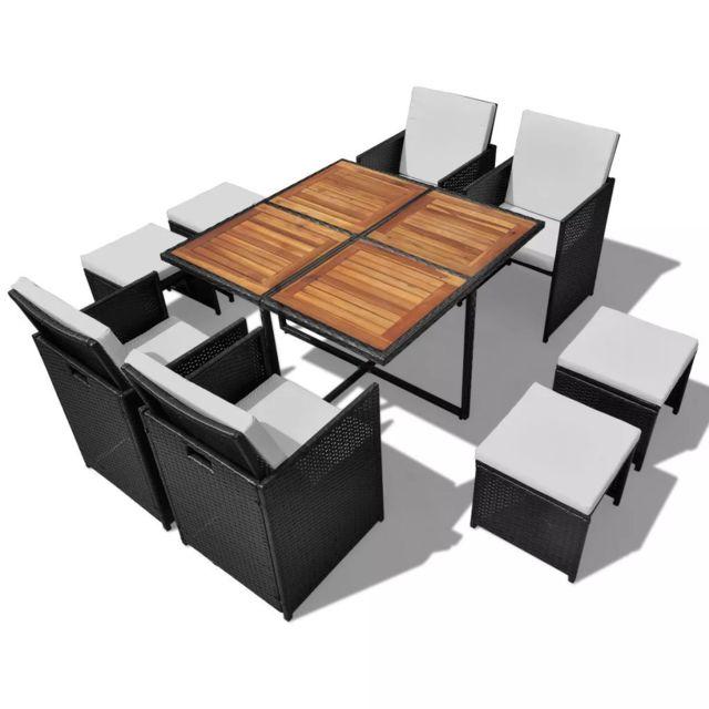 Vidaxl Salon de jardin encastrable 9 pcs Rotin et bois d'acacia Noir