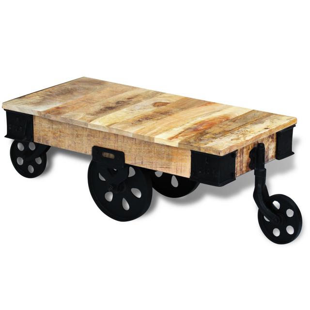 Vidaxl vidal Xl Table basse avec roues Bois de manguier brut