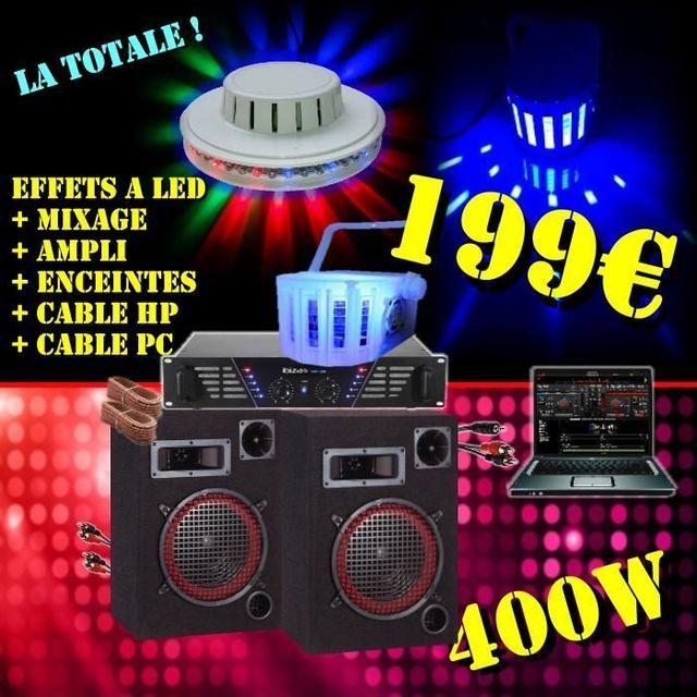 Ibiza Sound Pack Jeux De LumiÈRES + Pack Sono Ampli Enceintes 400W + Table De Mixage + CÂBLAGES . Pa Dj Led