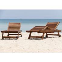 Bois Dessus Bois Dessous - Lot de 2 bains de soleil / chaises longue en bois de teck huilé