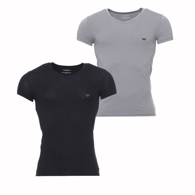 Armani Ea7 - Lot de 2 tee-shirts Emporio Armani col V en coton stretch.  Couleur   Noir ef784e743e5
