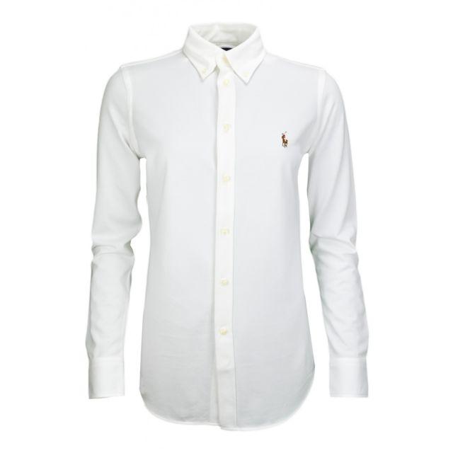 Ralph Lauren - Chemise polo Heidi blanche pour femme - pas cher Achat   Vente  Chemise femme - RueDuCommerce 868e88c85c3