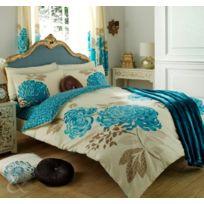 Just Contempo - Parure De Lit RÉVERSIBLE En Coton MÉLANGÉ Motif Floral, Couette Taille Super King Size, CrÈME Et Bleu Sarcelle