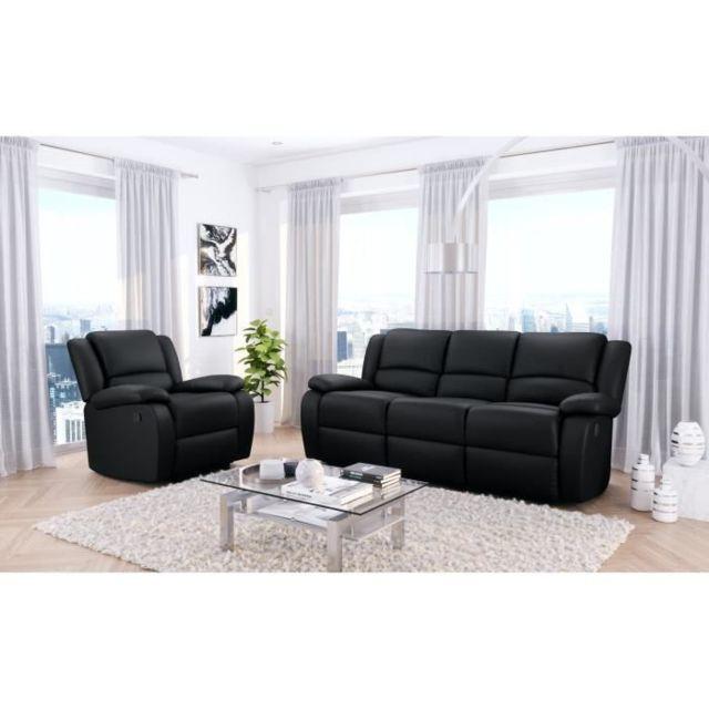 CANAPE - SOFA - DIVAN RELAX Ensemble de canapé relax 3 places + fauteuil - Simili noir