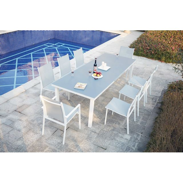 CONCEPT USINE - Moniga 8 : table de jardin extensible 8 personnes ...