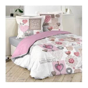 marque generique housse de couette et deux taies 240 cm monsegur rose 240cm x 220cm pas. Black Bedroom Furniture Sets. Home Design Ideas