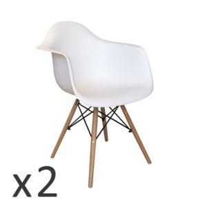 The Concept Factory Lot De Fauteuils Scandinave Oslo Blanc Pas - Fauteuil scandinave blanc