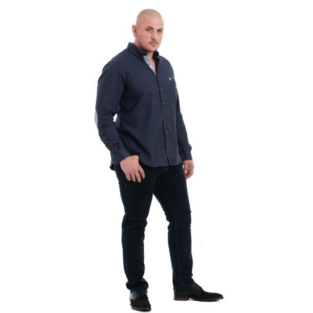 Dario Beltran Chemise bleu à coudières quadrillées bleu ciel