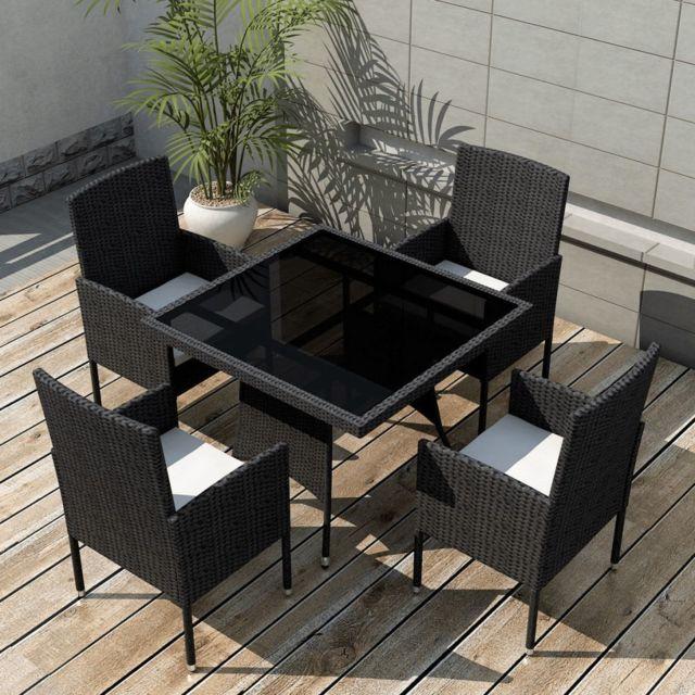 Sans marque ensemble de mobilier de jardin 9 pi ces rotin synth tique noir nc pas cher achat for Marque mobilier de jardin