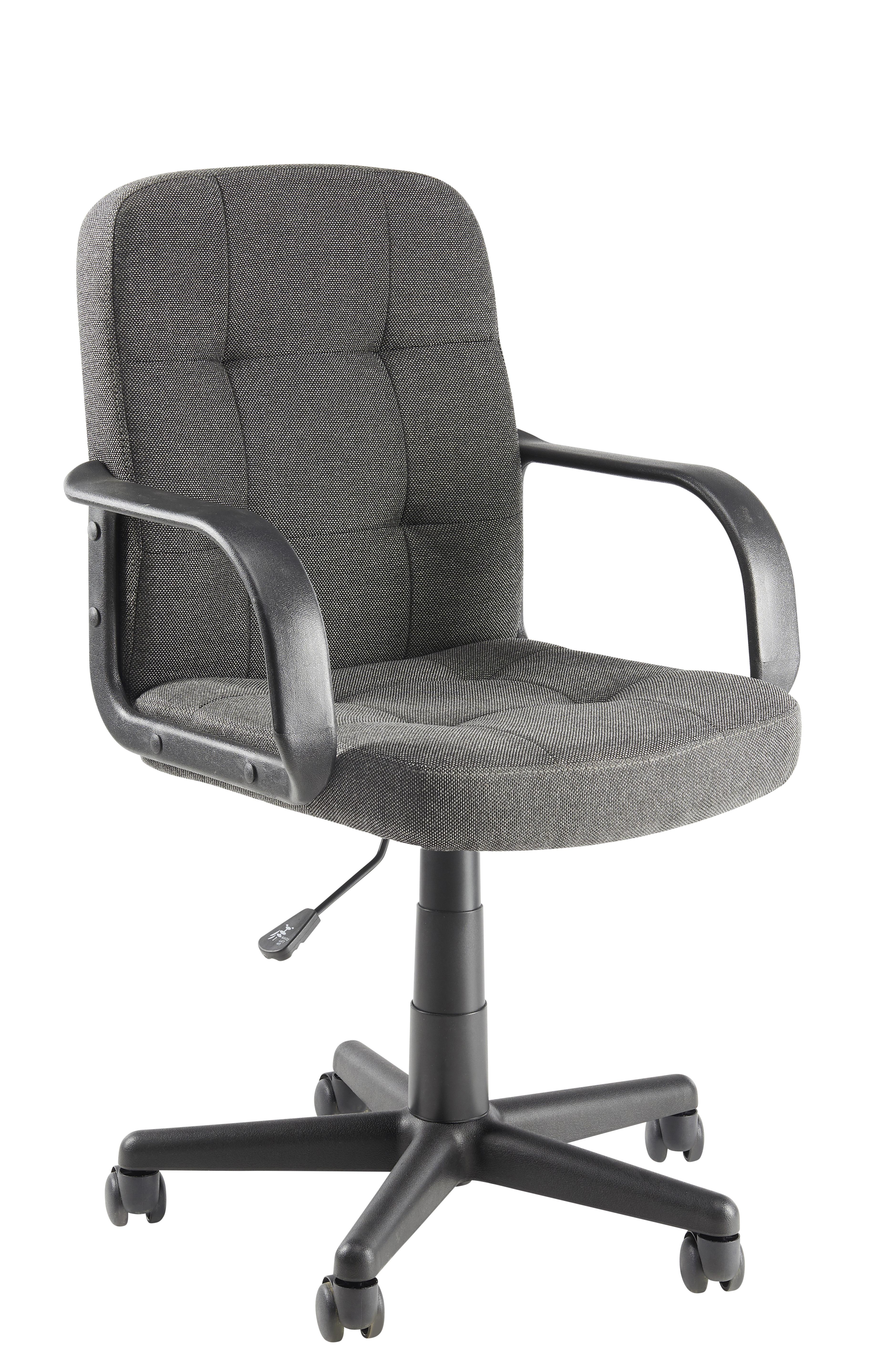 carrefour home fauteuil de bureau tissu gris pas. Black Bedroom Furniture Sets. Home Design Ideas