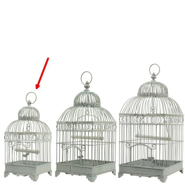 L'ORIGINALE Deco Petite Cage à Oiseaux Carré en Fer de Décoration Blanc 40 cm x 16.50 cm x 16.50 cm