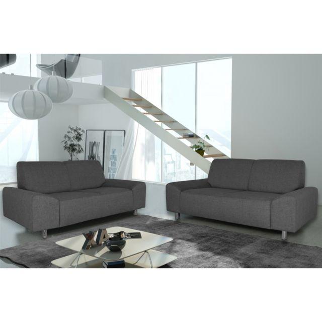 Rocambolesk Canapé Quick 3+2 savana 05 anthracite+pieds chrom sofa divan