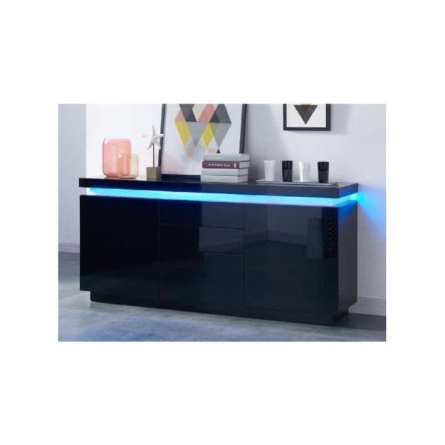 FLASH Buffet bas avec LED contemporain noir laqué brillant - L 175 cm