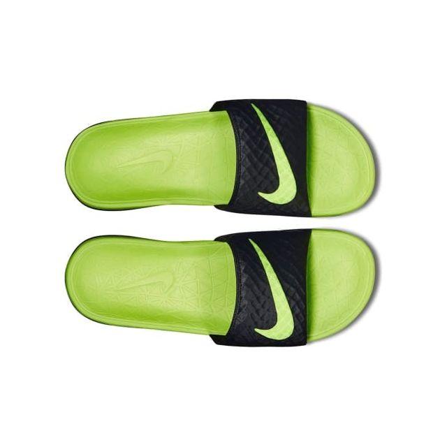100% authentique 2019 original Quantité limitée Nike - Claquettes Benassi Solarsoft noir vert fluo - pas ...