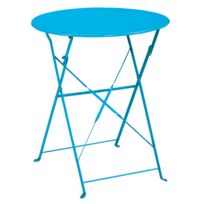 Ozalide - Table de jardin ronde Provence Ø 60 cm - bleu