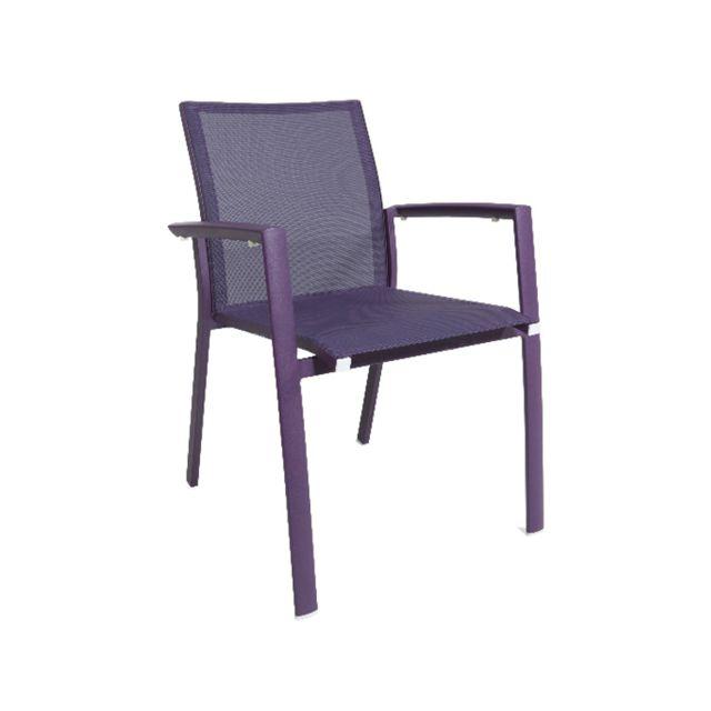 Gecko Jardin Lot de 2 chaises en aluminium et textilène violet Sydney