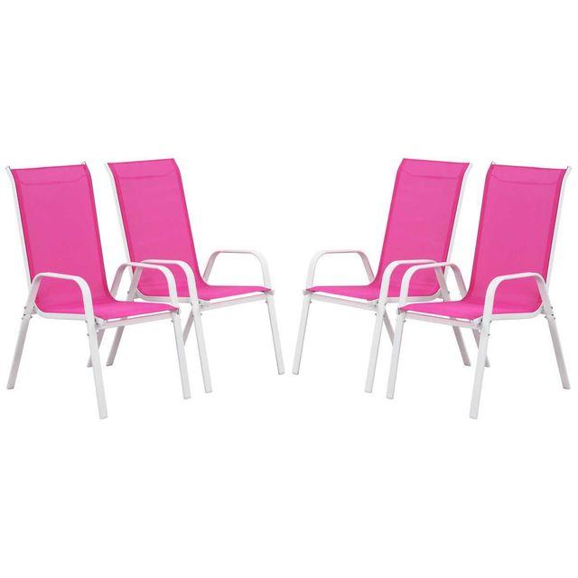 HABITAT ET JARDIN Fauteuil jardin Textilène Cordoba - Phoenix - Rose - Lot de 4