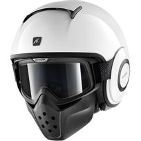 casque jet moto scooter Drak Raw Blank Whu blanc brillant Xl