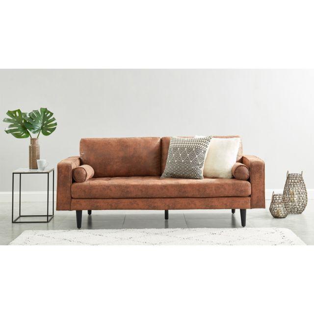 HOMIFAB Canapé droit 3 places en tissu effet cuir vieilli marron - Collection Charly