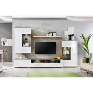 chloe design meuble tv design mural laas bois clair et blanc pas cher achat vente. Black Bedroom Furniture Sets. Home Design Ideas