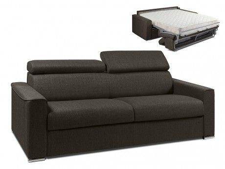 LINEA SOFA Canapé 4 places convertible express en tissu VIZIR - Chocolat - Couchage 160 cm - Matelas 18cm