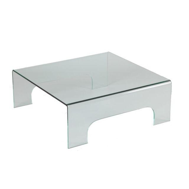 Tousmesmeubles Table basse carrée en verre sur pieds - Clean