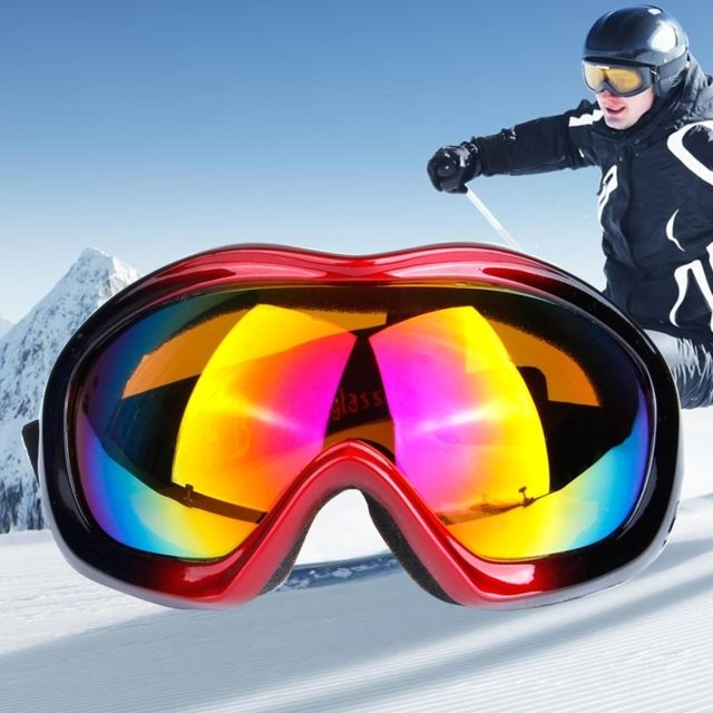 f0f153cf4999a Wewoo - Masque rouge et noir Unisexe Anti-buée Windprooof Uv protection  lunettes sphériques avec