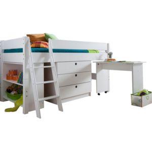 soldes comforium lit combin pour enfant 90x200 en bois massif coloris blanc nccm x nccm pas. Black Bedroom Furniture Sets. Home Design Ideas