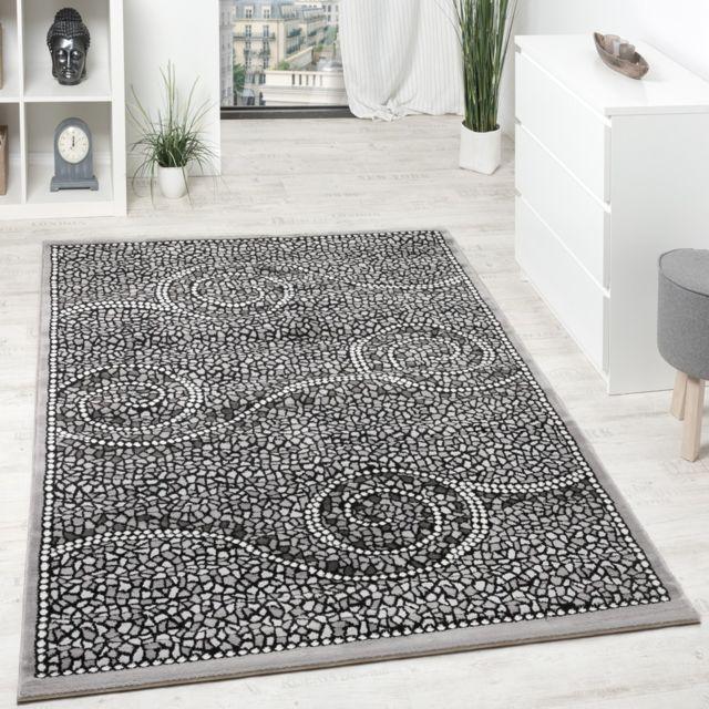 paco home tapis design poils courts classiques ornements mosa que pierre gris argent 80x150. Black Bedroom Furniture Sets. Home Design Ideas