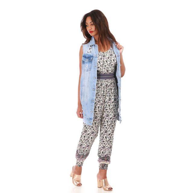 Lamodeuse - Veste en jean bleu clair sans manches effet destroy