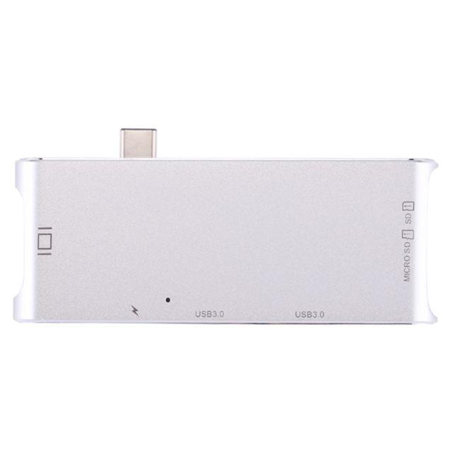 Wewoo - Pour Macbook / Pro / Huawei Matebook Usb-c / Type-C à Hdmi et Rj45 2 x Usb 3.0 Sd & Micro Sd Carte Adaptateur Hub avec Usb-c / Type-C de charge